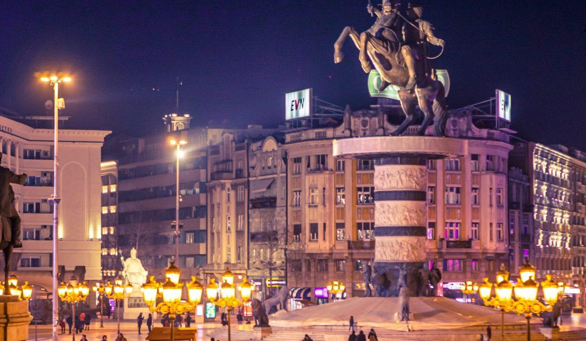 Skopje Macedonie plein